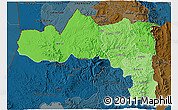 Political Shades 3D Map of Tigray, darken