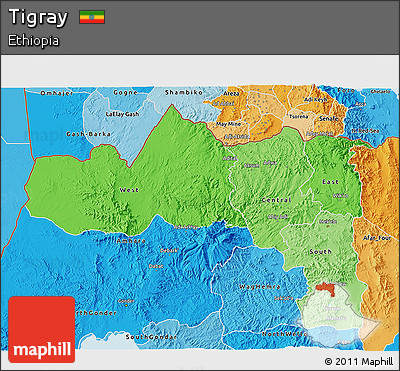 Political Shades 3D Map of Tigray