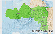 Political Shades 3D Map of Tigray, lighten