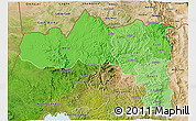 Political Shades 3D Map of Tigray, satellite outside