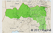 Political Shades 3D Map of Tigray, shaded relief outside