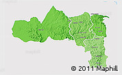 Political Shades 3D Map of Tigray, single color outside