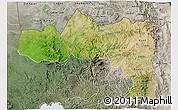 Satellite 3D Map of Tigray, semi-desaturated