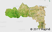 Satellite 3D Map of Tigray, single color outside