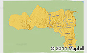 Savanna Style 3D Map of Tigray, single color outside