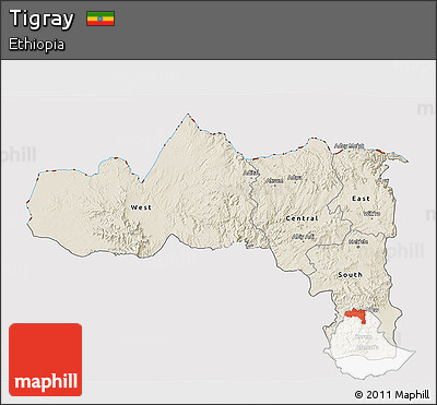 Shaded Relief 3D Map of Tigray, cropped outside
