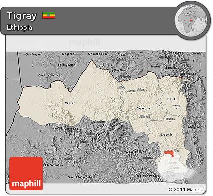 Shaded Relief 3D Map of Tigray, darken, desaturated
