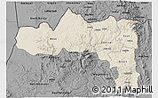 Shaded Relief 3D Map of Tigray, darken, desaturated