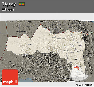 Shaded Relief 3D Map of Tigray, darken