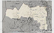 Shaded Relief 3D Map of Tigray, darken, semi-desaturated