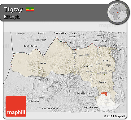 Shaded Relief 3D Map of Tigray, desaturated