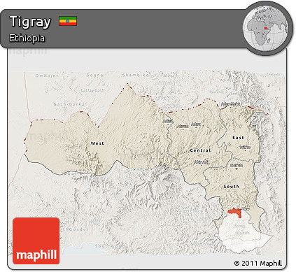 Shaded Relief 3D Map of Tigray, lighten