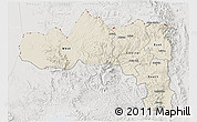 Shaded Relief 3D Map of Tigray, lighten, semi-desaturated