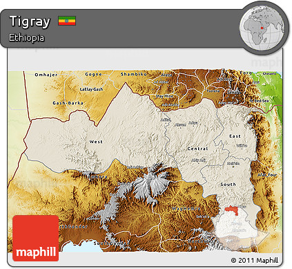 Shaded Relief 3D Map of Tigray, physical outside