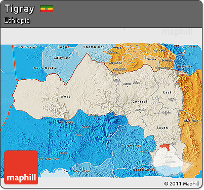Shaded Relief 3D Map of Tigray, political shades outside