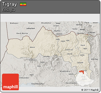 Shaded Relief 3D Map of Tigray, semi-desaturated