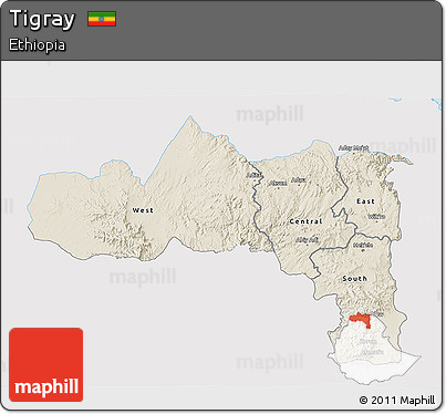 Shaded Relief 3D Map of Tigray, single color outside