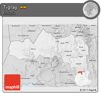 Silver Style 3D Map of Tigray