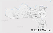 Silver Style 3D Map of Tigray, single color outside