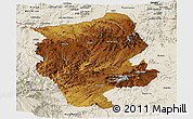 Physical Panoramic Map of Central, shaded relief outside