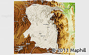 Shaded Relief 3D Map of East, physical outside