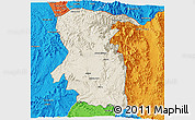 Shaded Relief 3D Map of East, political outside