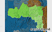 Political Shades Map of Tigray, darken