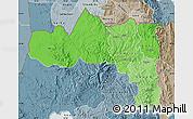 Political Shades Map of Tigray, semi-desaturated