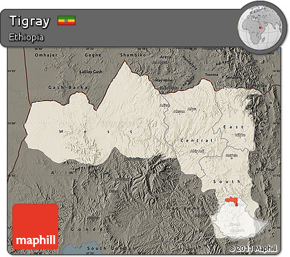 Shaded Relief Map of Tigray, darken