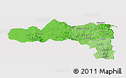 Political Shades Panoramic Map of Tigray, cropped outside