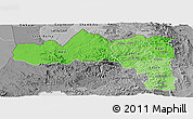 Political Shades Panoramic Map of Tigray, desaturated