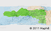 Political Shades Panoramic Map of Tigray, lighten