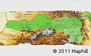 Political Shades Panoramic Map of Tigray, physical outside