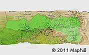 Political Shades Panoramic Map of Tigray, satellite outside