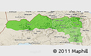 Political Shades Panoramic Map of Tigray, shaded relief outside