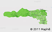 Political Shades Panoramic Map of Tigray, single color outside