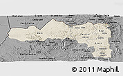 Shaded Relief Panoramic Map of Tigray, darken, desaturated