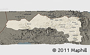 Shaded Relief Panoramic Map of Tigray, darken