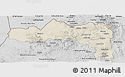 Shaded Relief Panoramic Map of Tigray, desaturated