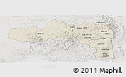 Shaded Relief Panoramic Map of Tigray, lighten, semi-desaturated