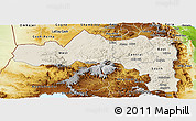 Shaded Relief Panoramic Map of Tigray, physical outside
