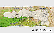 Shaded Relief Panoramic Map of Tigray, satellite outside