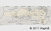 Shaded Relief Panoramic Map of Tigray, semi-desaturated
