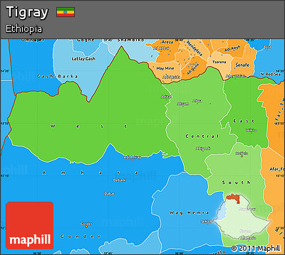 Political Shades Simple Map of Tigray