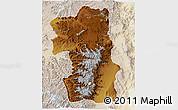 Physical 3D Map of South, lighten