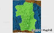 Political 3D Map of South, darken