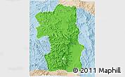 Political 3D Map of South, lighten