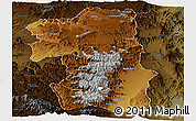 Physical Panoramic Map of South, darken