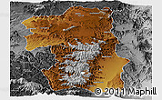 Physical Panoramic Map of South, desaturated