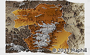 Physical Panoramic Map of South, semi-desaturated